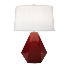 Modern Art Deco Table Lamp Oxblood / Polished Nickel Delta by Robert Abbey