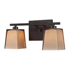 Bathroom Light with Brown Glass in Oiled Bronze Finish