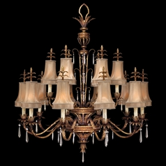 Fine Art Lamps Pastiche Antique Gold Crystal Chandelier