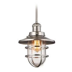Elk Lighting Seaport Satin Nickel Mini-Pendant Light with Bowl / Dome Shade