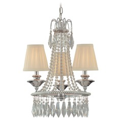 Mini-Chandelier with Beige / Cream Shades in Chrome Finish