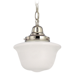 8-Inch Schoolhouse Mini-Pendant Light with Chain in Polished Nickel