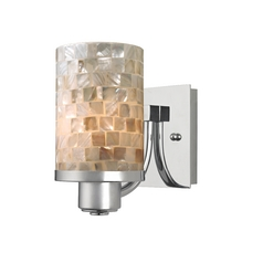 Design Classics Lighting Chrome Wall Sconce with Mosaic Glass 589-26 GL1026C
