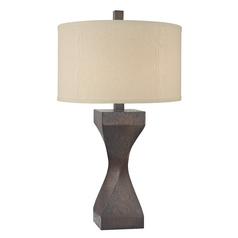 Design Classics Lighting Wood Grain Table Lamp with Beige Drum Shade DCL 6922-1-669 SH7650