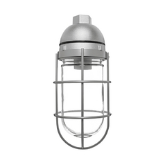 Close To Ceiling Light with Clear Glass in Silver Finish - 200W