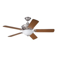 Craftmade Lighting Gambrel Brushed Polished Nickel Ceiling Fan with Light