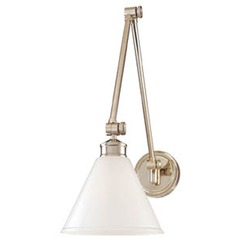 Swing Arm Lamp with White Glass in Polished Nickel Finish