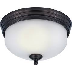 Flushmount Light with White Glass in Harbor Bronze Finish