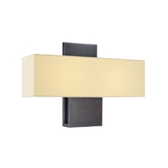 Modern Sconce Wall Light with White Shade in Rubbed Bronze Finish