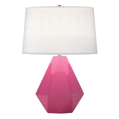 Modern Art Deco Table Lamp Schiaparelli Pink / Polished Nickel Delta by Robert Abbey