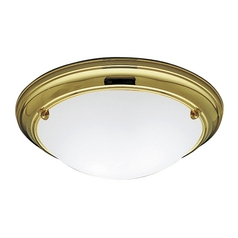 Progress Flushmount Light with White Glass in Polished Brass Finish