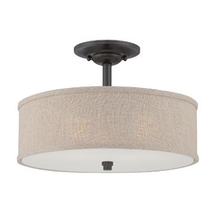 Modern Semi-Flushmount Light in Mottled Cocoa Finish