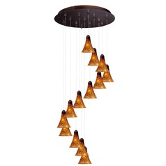 Minx Bronze Multi-Light Pendant with Bell Shade