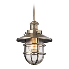 Elk Lighting Seaport Antique Brass Mini-Pendant Light with Bowl / Dome Shade