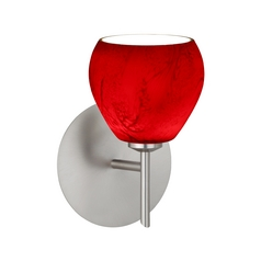 Modern Sconce Wall Light with Red Glass in Satin Nickel Finish