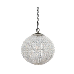 Crystal Pendant Light with Clear Glass in Antique Brass Finish
