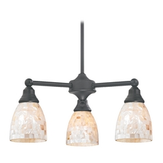 Design Classics Lighting Mini-Chandelier with Mosaic Glass Shades in Matte Black Finish 598-07 GL1026MB