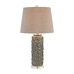 Dimond Rosette Grey Glaze Table Lamp with Empire Shade