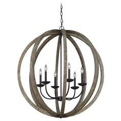 Feiss Lighting Allier Weathered Oak Wood / Antique Forged Iron Pendant Light