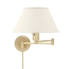 Swing Arm Lamp with White Shade in Satin Brass Finish