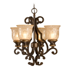 Mini-Chandelier with Amber Glass in Bronze Umber Finish
