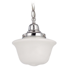 8-Inch Chrome Schoolhouse Mini-Pendant Light with Chain