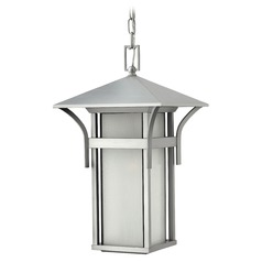 LED Outdoor Hanging Light with White Glass in Titanium Finish