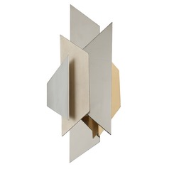 Modern Art Deco Sconce Polished Stainless With Silver and Gold Leaf Modernist by Corbett