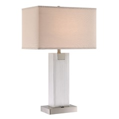 Lite Source Clifton Brushed Nickel Table Lamp with Rectangle Shade