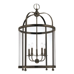 Pendant Light with Clear Glass in Distressed Bronze Finish