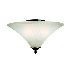 Sea Gull Lighting Flushmount Light with White Glass in Heirloom Bronze Finish 75935-782