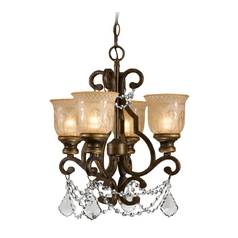 Crystal Mini-Chandelier with Amber Glass in Bronze Umber Finish