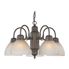 Mini-Chandelier with Caramel Glass in Bronze Finish