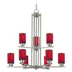 Chandelier with Red Glass in Satin Nickel - 9-Lights