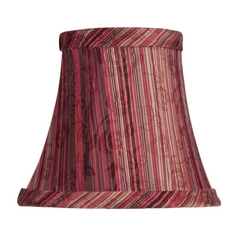 Burgundy Striped Bell Lamp Shade with Clip-On Assembly