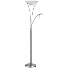 Torchiere Lamp with White Glass in Polished Steel Finish