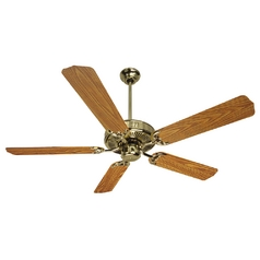 Craftmade 52-Inch Ceiling Fan in Polished Brass with Five Blades