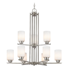 Chandelier with White Glass in Satin Nickel - 9-Lights