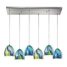 Multi-Light Pendant Light with Blue Glass and 6-Lights