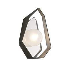 Art Deco LED Sconce Graphite With Silver Leaf Origami by Troy Lighting