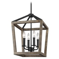 Feiss Lighting Gannet Weathered Oak Wood / Antique Forged Iron Pendant Light