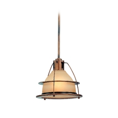 Nautical Pendant Light with Amber Glass in Bronze Finish