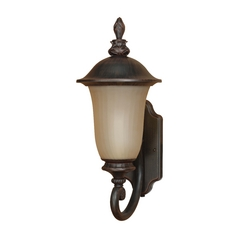 Outdoor Wall Light with Beige / Cream Glass in Old Penny Bronze Finish