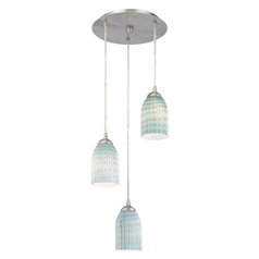 Design Classics Lighting Modern Multi-Light Pendant Light with Blue Glass and 3-Lights 583-09 GL1003D
