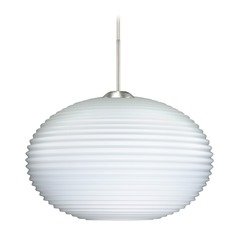 Besa Lighting Pape Ribbed Glass Satin Nickel LED Pendant Light