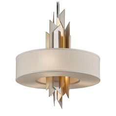 Corbett Lighting Modernist Polished Stainless / Silver & Gold Leaf Pendant Light with Drum Shade
