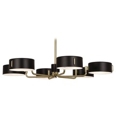 Mid-Century Modern Chandelier Satin Black / Antique Brass Simon by Robert Abbey