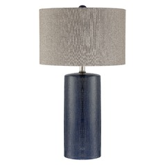 Lite Source Jacoby Navy Blue Table Lamp with Drum Shade