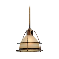Nautical Pendant Light with Amber Glass - 15-Inches Wide