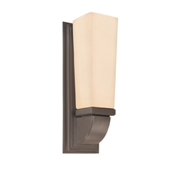 Modern Sconce Wall Light with White Glass in Rubbed Bronze Finish